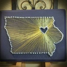 Visit my Etsy page if you would like to order one at: https://www.etsy.com/shop/MarrissasStringArt Or visit my How To Blog: http://marrissas.blogspot.com/  Another UNI one! Donating this one to a coworkers benefit! State String Art, String Art, University of Northern Iowa, UNI Panthers