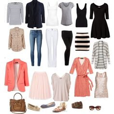 Capsule wardrobe to flatter most skin tones. Neutrals with coral accents. Packing list for Europe! by jen-johnson-i on Polyvore featuring Cacharel, By Malene Birger, Miss Selfridge, Equipment, Jaeger, Benetton, Pieces, Fat Face, Hanro and VILA