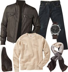 Levi's Trucker Assault Bomber ($98). Levi's Original Crew Sweatshirt ($68). Levi's 501 Clean Shaven Jeans ($98). Levi's Ombre Cable Scarf ($48). Victorinox Swiss Army Airboss Watch ($895). Folk Armstrong Desert Boots ($255)