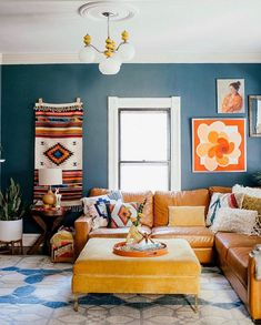 Eclectic Home Tour - Home Ec - Vintage modern family room with blue walls and leather sectional - Eclectic Living Room, Boho Living Room, Eclectic Decor, Family Room Sectional, Painted Interior Doors, Modern Family Rooms, Family Room Design, Sofa Furniture, Coaster Furniture