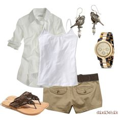 Summer Outfit except I would do khaki capris instead of shorts.