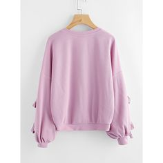 SheIn(sheinside) Bow Tie Split Sleeve Ribbed Sweatshirt ($17) ❤ liked on Polyvore featuring tops, hoodies, sweatshirts, embellished long sleeve top, pink long sleeve top, long sleeve tops, pink top and stretchy long sleeve tops