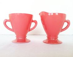 Vintage Hazel Atlas Pink Ovide Platonite Cream and Sugar Set Vintage Kitchen Mid Century Mod Retro Camper Rockabilly
