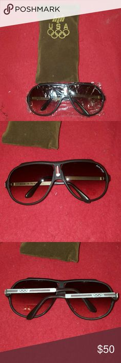 VINTAGE 80's NEW OLYMPIC SUNNIES Sunglasses Never sold in stores, these were limited editions sponsored by HTH for the Olympics. Collectors edition. They have plastic and a velour case. Comes with original box/packing. HTH Olympics Accessories Sunglasses