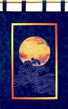 Moon and Waves Quilt Pattern Sashiko & Reverse Applique Design