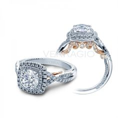 Verragio Insignia Ring - 18K White Gold Cushion Halo Diamond Setting, for Round Center, from the
