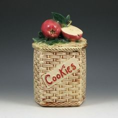 McCoy Apple On Basket Weave Cookie Jar