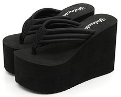 IDIFU Women's Comfy Wedge Platform Thong Sandals With Heels Beach Holiday Summer Flip Flops Black 8 B(M) US. Heel measurement: about 4.9 inches; Platform measurement: around 2.6 inches; Comfortable and soft. High wedge heel, thong, open split toe and platform design; Convenient to put on and take off. Durable, breathable and anti-skid; Healthy and safe for your feet; Well protect your feet. Suitable for office ladies and special occasions; A good gift for your better half and your…