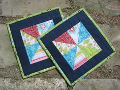 2 Mug Rugs  Candle mats  Pot holders in blue green by tejesarita