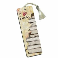 Stack of Books Printed Bookmark with Tassel - ads elite socks Bookmarks For Books, Creative Bookmarks, Paper Bookmarks, Watercolor Bookmarks, How To Make Bookmarks, Watercolor Cards, Bookmark Craft, Book Markers, Art N Craft