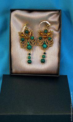 """Купить Авторское украшение, серьги """"Капельки"""" с малахитом - золотой, зеленый, серьги, авторские серьги"""
