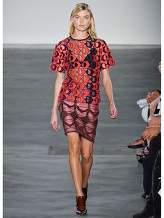 Derek Lam Spring 2013 - a couch threw up on this poor girl. Totally impractical and unflattering.