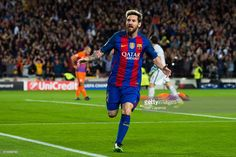 Lionel Messi of FC Barcelona celebrates after scoring the opening goal during the UEFA Champions League group C match between FC Barcelona and Manchester City FC at Camp Nou on October 19, 2016 in Barcelona, Spain.