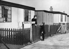In Bromley-by-Bow a heavily blitzed area of East London a mother sees her daughter off to school from their pre-fab home. The street is named Franklin Street after a US President. Get premium, high resolution news photos at Getty Images Uk History, London History, British History, Vintage London, Old London, Old Pictures, Old Photos, East End London, Bethnal Green