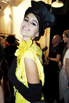 Kaia Gerber backstage at Marc Jacobs fashion show during NYFW in New York