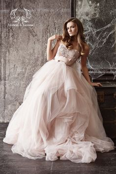 Wedding dress. Blush wedding dress. Blush bride by DressesLioness