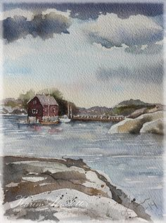 Sunday Watercolors; Another Swedish West Coast scene!
