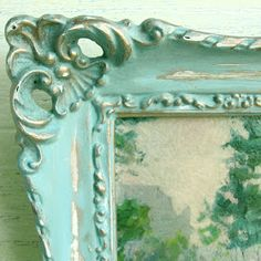 DIY: Painted & Distressed Frame - chalk paint, wax & lots of distressing - basic DIY, with paint colors listed.