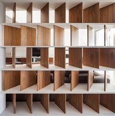 View full picture gallery of Vivienda La Finca Office Interior Design, Office Interiors, Interior Decorating, Bookshelf Inspiration, Wall Design, House Design, Partition Design, Wood Partition, Retail Design