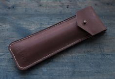 Flat Pencil Case/ Leather Pencil Case/ Light Brown by PodkovaShop