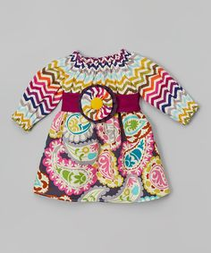 Look what I found on #zulily! Purple Chevron Paisley Peasant Dress - Infant & Toddler by  #zulilyfinds