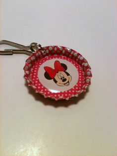 Pink Minnie Mouse bottle cap zipper pull by LillypadPark on Etsy, $3.25
