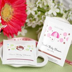 Personalized Baby Shower Tea Bags by Beau-coup  http://www.beau-coup.com/baby-tea-favors.htm