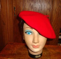 Vtg Betmar French Beret Hat One Size Red Wool NewYork  Betmar  Beret French  Beret a5ff8c1ad8d4