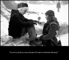 Snow: Hermione & Draco (Manip) Artwork by LostMaeblleshire --Don't ship them but this is cute.