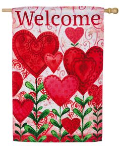 """NEW VALENTINE CUPID HEART GARDEN HOUSE FLAG HANGING 12.5/"""" X 18/"""" FABRIC"""
