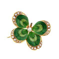 Antique Enamel & Seed Pearl Clover Pin.  Diamond Is A Girl Best Friend