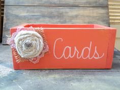 Rustic Coral and White Wedding Cards Box with Burlap Rosette Embellishment Wedding Decor. $20.00, via Etsy.