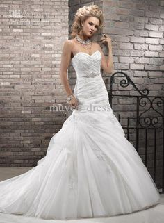 Wholesale 2013 Sweetheart corset closure dropped waist A-line Vicenza Organza lace Wedding Dresses Bridal Gown, Free shipping, $339.36/Piece   DHgate