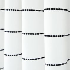 Emile Stripe, Onyx A horizontal stripe fabric for curtains in black and white. Drapery Fabric, Drapes Curtains, Silk Drapes, White Kitchen Curtains, Living Room Decor Curtains, Custom Drapes, Black And White Aesthetic, White Bedroom, Black Curtains Bedroom