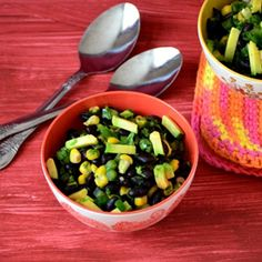 Healthy and delicious, southwestern style black bean salad with avocado