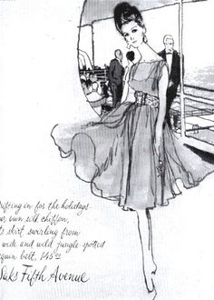 Saks ad for a chiffon cocktail dress with leopard spotted belt