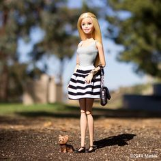 """""""Taking Ms. Honey for a walk and feeling flat out fantastic! #barbie #barbiestyle"""""""