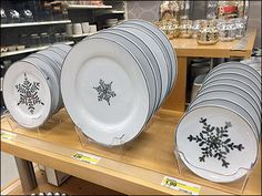 Snowflake China Butcher's Block Display in Acrylic Tray Retail Merchandising, Wood Tray, Staging, Trays, Snowflakes, Decorative Plates, China, Display, Tableware