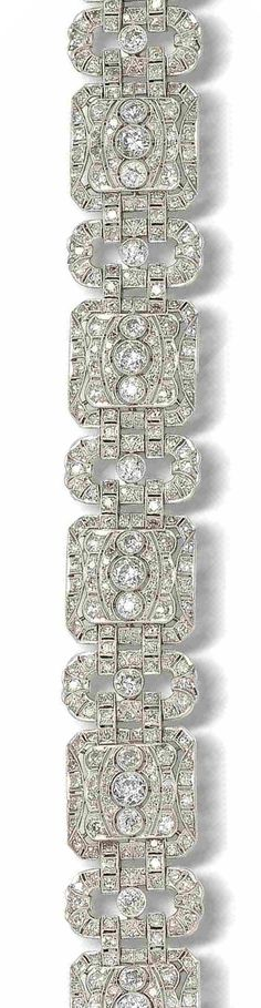 A diamond plaque bracelet, circa 1930  The alternating row of square and oval plaques each pierced and millegrain-set with old brilliant and single-cut diamonds, the galleries with engraved scroll decoration, to a concealed clasp, diamonds approximately 11.55 carats total, length 17.8cm