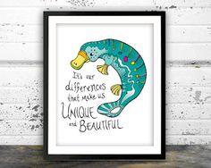 Platypus nursery print nursery quote colorful by NarwhalDesignInk