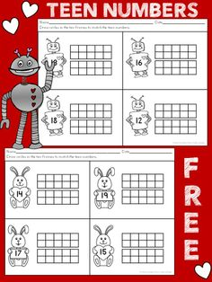 } Teen Number Ten Frame Valentine's Day Worksheets Common Core Aligned could be recreated for grade as well :) Teen Numbers, Math Numbers, Math Resources, Math Activities, Math Worksheets, Kindergarten Fun, Preschool, Fun Math, Maths