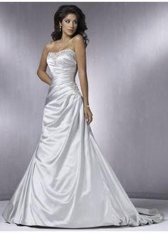 $172.49 : Strapless Taffeta A-Line Wedding Dress With Beadings