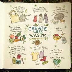 """Making the journey to zero waste in order to lessen my footprint. Here's a little guide to get started if you're interested too. I've also tagged some inspiring trash-less people. """"Our personal changes can lead to whole movements."""" #zerowaste #sustainability #recycle #ecofriendly #illustration #watercolor #drawing #sketchbook"""