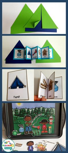 Camping Theme Vocabulary Activities - Use this resource with your preschool, Kindergarten, or 1st grade classroom or home school students. It's great for your vocabulary or speech therapy lessons. You get a craftivity, foldable, mini books, write the room worksheet, counting syllables, and an interactive vocabulary scene. Use this with your campground themed classroom decor at any time of the year, but it works particularly well at the end of the year! {preK, K, first graders}