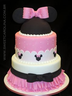 Bolo pasta americana, Minnie, Disney, pink