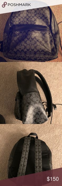 Coach  Backpack Coach F55398 Mens Charles Backpack In Signature Charcoal Black NWT Coach Bags Backpacks