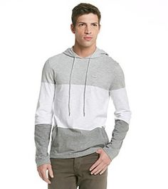 I need this for winter! Calvin Klein Men's Royce Heather Long Sleeve Jersey Knit Hoodie