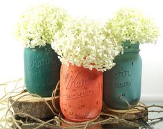 LOVE Rustic Mason Jar Set Home Decorating by curiouscarrie on Etsy