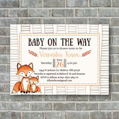 Woodland BABY SHOWER INVITATION Rustic baby shower by PoppinsInk