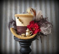 Your place to buy and sell all things handmade Steampunk Belle, Steampunk Kids, Steampunk Hat, Wonderland Costumes, Mad Hatter Hats, Cute Hats, Mardi Gras, Grapevine Wreath, Alice In Wonderland